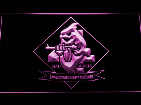 Image of US Marine Corps 2nd Battalion 24th Marines LED Neon Sign - Purple - SafeSpecial