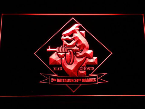 Image of US Marine Corps 2nd Battalion 24th Marines LED Neon Sign - Red - SafeSpecial