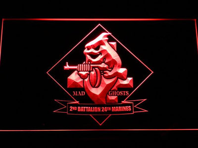 US Marine Corps 2nd Battalion 24th Marines LED Neon Sign - Red - SafeSpecial