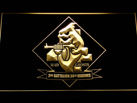 Image of US Marine Corps 2nd Battalion 24th Marines LED Neon Sign - Yellow - SafeSpecial