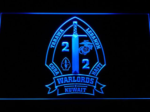 Image of US Marine Corps 2nd Battalion 2nd Marines LED Neon Sign - Blue - SafeSpecial