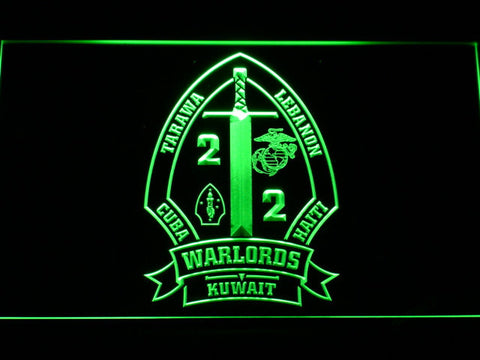 Image of US Marine Corps 2nd Battalion 2nd Marines LED Neon Sign - Green - SafeSpecial