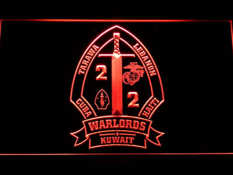 Image of US Marine Corps 2nd Battalion 2nd Marines LED Neon Sign - Red - SafeSpecial