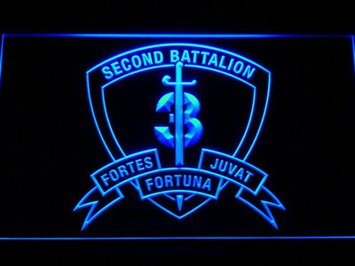 US Marine Corps 2nd Battalion 3rd Marines LED Neon Sign - Blue - SafeSpecial