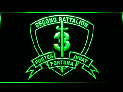 US Marine Corps 2nd Battalion 3rd Marines LED Neon Sign - Green - SafeSpecial
