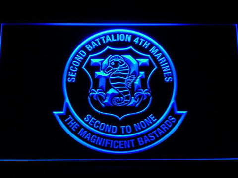 Image of US Marine Corps 2nd Battalion 4th Marines LED Neon Sign - Blue - SafeSpecial