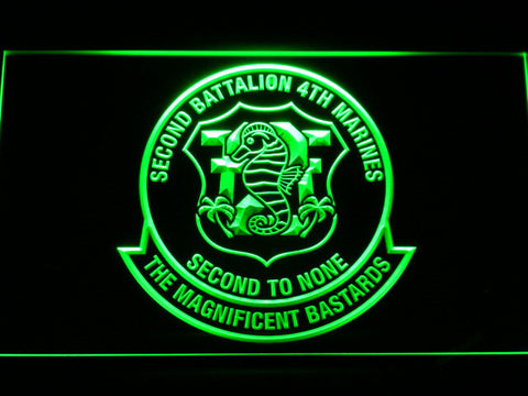 Image of US Marine Corps 2nd Battalion 4th Marines LED Neon Sign - Green - SafeSpecial