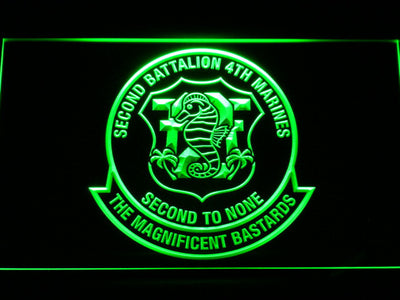 US Marine Corps 2nd Battalion 4th Marines LED Neon Sign - Green - SafeSpecial