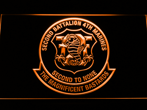 Image of US Marine Corps 2nd Battalion 4th Marines LED Neon Sign - Orange - SafeSpecial