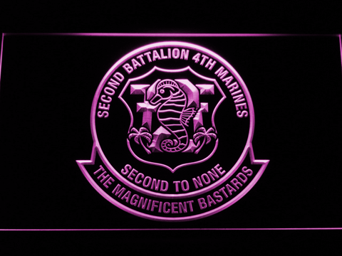 Image of US Marine Corps 2nd Battalion 4th Marines LED Neon Sign - Purple - SafeSpecial
