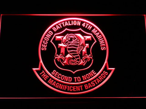 Image of US Marine Corps 2nd Battalion 4th Marines LED Neon Sign - Red - SafeSpecial