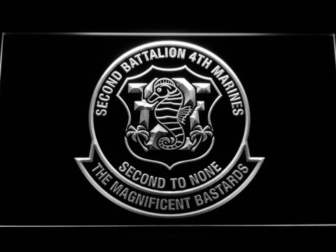 Image of US Marine Corps 2nd Battalion 4th Marines LED Neon Sign - White - SafeSpecial