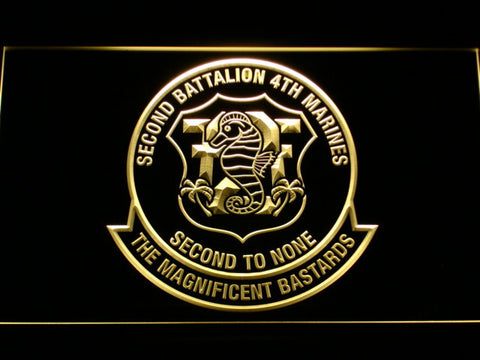 Image of US Marine Corps 2nd Battalion 4th Marines LED Neon Sign - Yellow - SafeSpecial