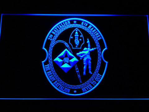 Image of US Marine Corps 2nd Battalion 6th Marines LED Neon Sign - Blue - SafeSpecial