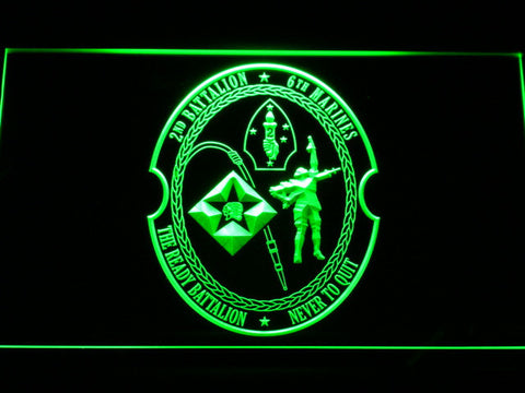 Image of US Marine Corps 2nd Battalion 6th Marines LED Neon Sign - Green - SafeSpecial