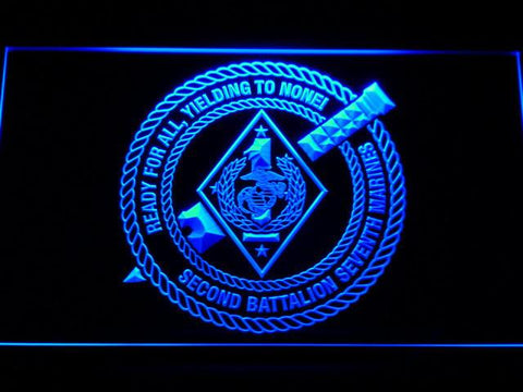 Image of US Marine Corps 2nd Battalion 7th Marines LED Neon Sign - Blue - SafeSpecial