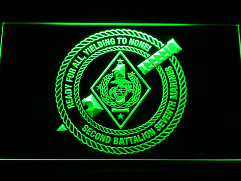 Image of US Marine Corps 2nd Battalion 7th Marines LED Neon Sign - Green - SafeSpecial