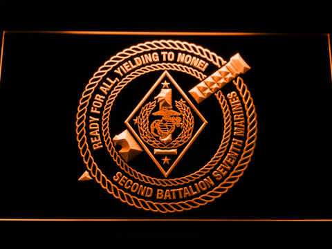Image of US Marine Corps 2nd Battalion 7th Marines LED Neon Sign - Orange - SafeSpecial