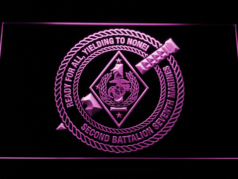 Image of US Marine Corps 2nd Battalion 7th Marines LED Neon Sign - Purple - SafeSpecial