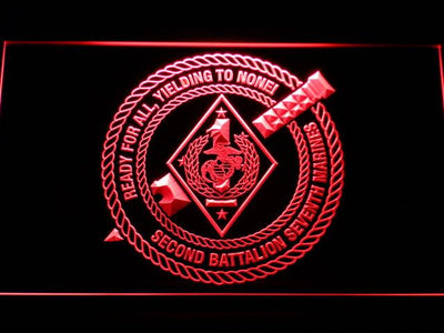 US Marine Corps 2nd Battalion 7th Marines LED Neon Sign - Red - SafeSpecial