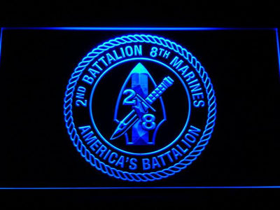 US Marine Corps 2nd Battalion 8th Marines LED Neon Sign - Blue - SafeSpecial