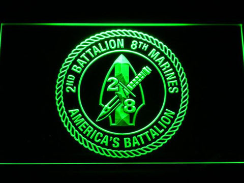 Image of US Marine Corps 2nd Battalion 8th Marines LED Neon Sign - Green - SafeSpecial