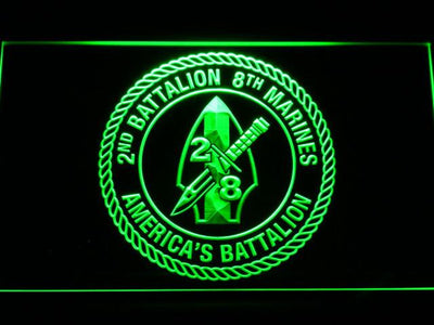 US Marine Corps 2nd Battalion 8th Marines LED Neon Sign - Green - SafeSpecial