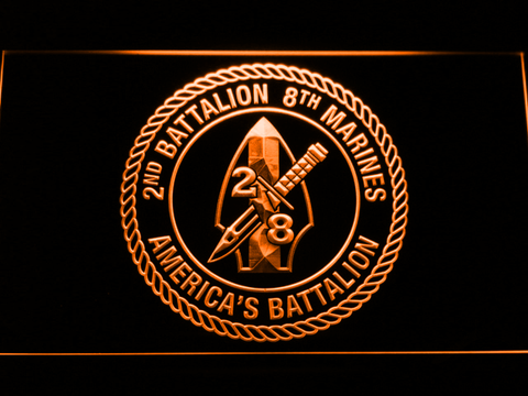 Image of US Marine Corps 2nd Battalion 8th Marines LED Neon Sign - Orange - SafeSpecial