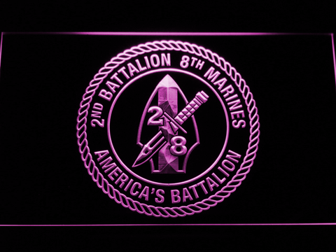 Image of US Marine Corps 2nd Battalion 8th Marines LED Neon Sign - Purple - SafeSpecial