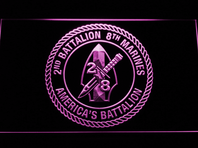 US Marine Corps 2nd Battalion 8th Marines LED Neon Sign - Purple - SafeSpecial