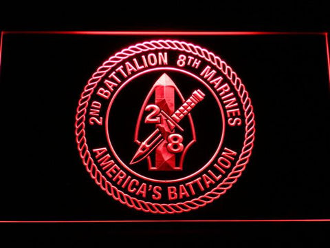 Image of US Marine Corps 2nd Battalion 8th Marines LED Neon Sign - Red - SafeSpecial