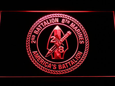 US Marine Corps 2nd Battalion 8th Marines LED Neon Sign - Red - SafeSpecial