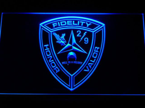 Image of US Marine Corps 2nd Battalion 9th Marines LED Neon Sign - Blue - SafeSpecial