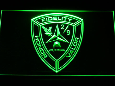 Image of US Marine Corps 2nd Battalion 9th Marines LED Neon Sign - Green - SafeSpecial