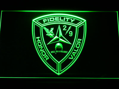 US Marine Corps 2nd Battalion 9th Marines LED Neon Sign - Green - SafeSpecial