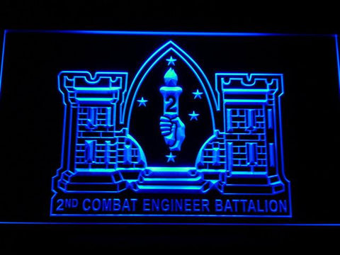 Image of US Marine Corps 2nd Combat Engineer Marine LED Neon Sign - Blue - SafeSpecial