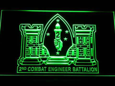 Image of US Marine Corps 2nd Combat Engineer Marine LED Neon Sign - Green - SafeSpecial