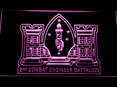 Image of US Marine Corps 2nd Combat Engineer Marine LED Neon Sign - Purple - SafeSpecial