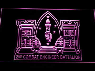 US Marine Corps 2nd Combat Engineer Marine LED Neon Sign - Purple - SafeSpecial