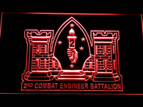 Image of US Marine Corps 2nd Combat Engineer Marine LED Neon Sign - Red - SafeSpecial