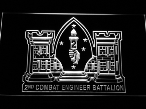 Image of US Marine Corps 2nd Combat Engineer Marine LED Neon Sign - White - SafeSpecial