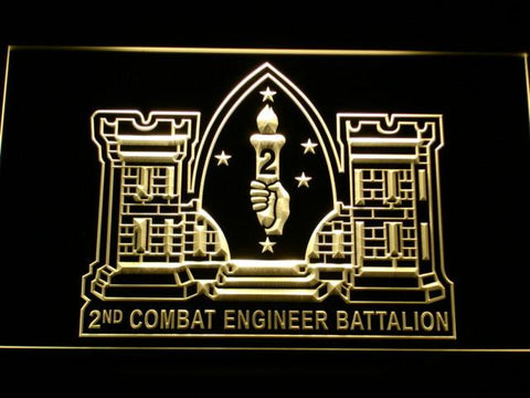 Image of US Marine Corps 2nd Combat Engineer Marine LED Neon Sign - Yellow - SafeSpecial