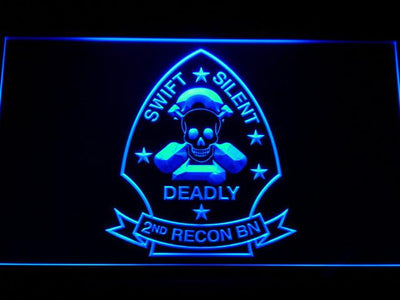 US Marine Corps 2nd Recon Battalion LED Neon Sign - Blue - SafeSpecial