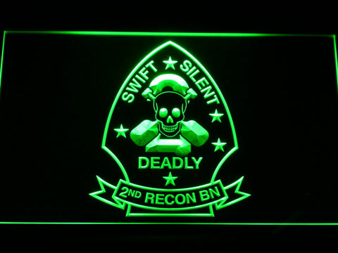 Image of US Marine Corps 2nd Recon Battalion LED Neon Sign - Green - SafeSpecial