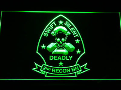 US Marine Corps 2nd Recon Battalion LED Neon Sign - Green - SafeSpecial