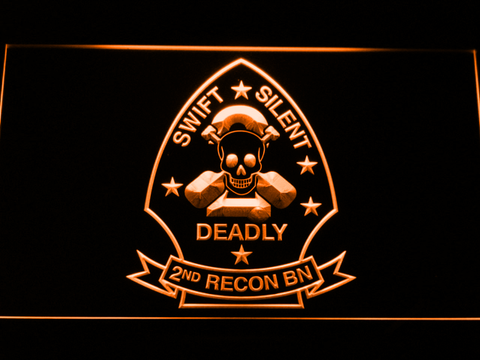 Image of US Marine Corps 2nd Recon Battalion LED Neon Sign - Orange - SafeSpecial