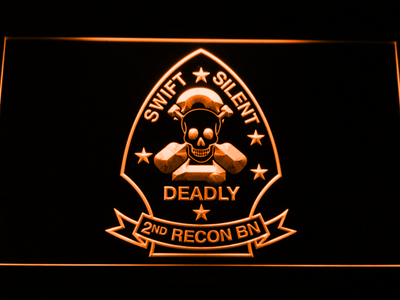 US Marine Corps 2nd Recon Battalion LED Neon Sign - Orange - SafeSpecial
