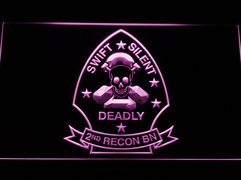 Image of US Marine Corps 2nd Recon Battalion LED Neon Sign - Purple - SafeSpecial
