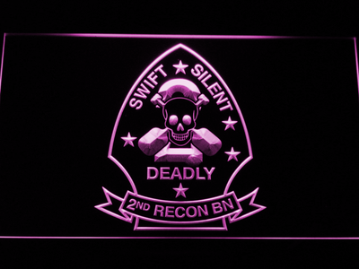 US Marine Corps 2nd Recon Battalion LED Neon Sign - Purple - SafeSpecial