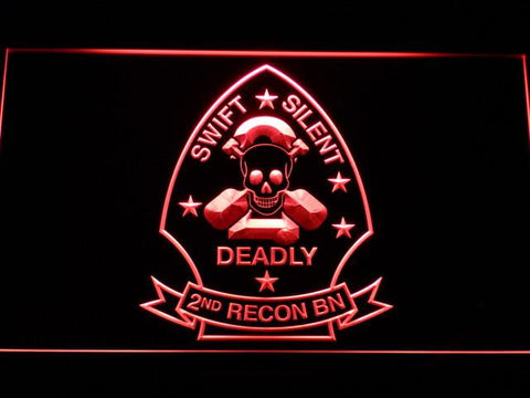 Image of US Marine Corps 2nd Recon Battalion LED Neon Sign - Red - SafeSpecial